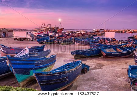 Essaouira port in Morocco. Shot  after sunset at blue hour.