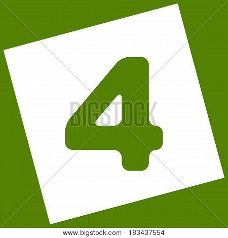Number 4 sign design template element. Vector. White icon obtained as a result of subtraction rotated square and path. Avocado background.