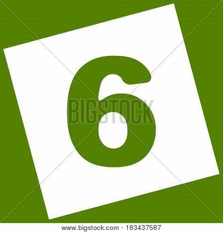 Number 6 sign design template element. Vector. White icon obtained as a result of subtraction rotated square and path. Avocado background.