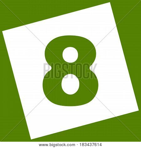 Number 8 sign design template element. Vector. White icon obtained as a result of subtraction rotated square and path. Avocado background.