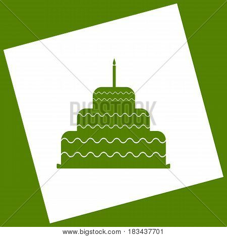 Cake with candle sign. Vector. White icon obtained as a result of subtraction rotated square and path. Avocado background.