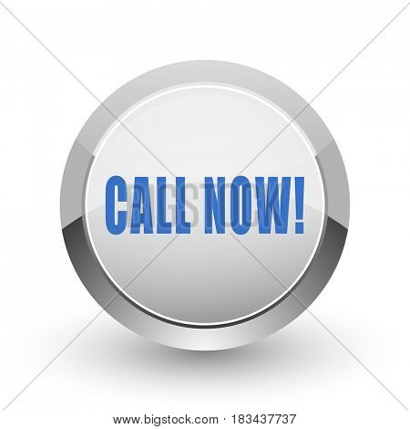 Call now chrome border web and smartphone apps design round glossy icon.