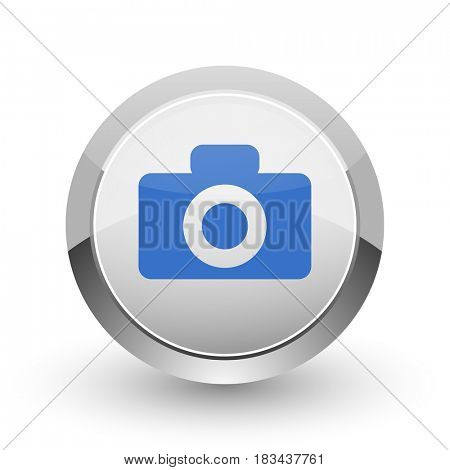 Camera chrome border web and smartphone apps design round glossy icon.
