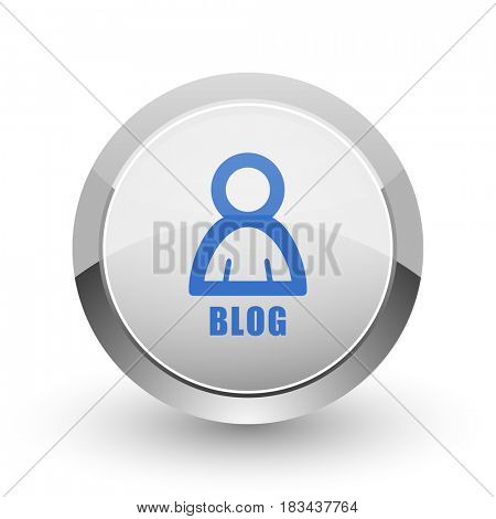Blog chrome border web and smartphone apps design round glossy icon.