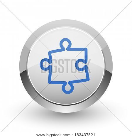 Puzzle chrome border web and smartphone apps design round glossy icon.