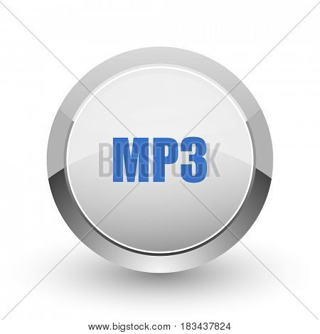 Mp3 chrome border web and smartphone apps design round glossy icon.