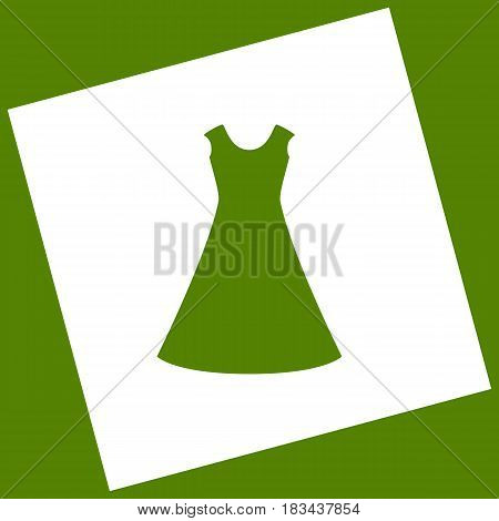 beautiful long dress sign. Vector. White icon obtained as a result of subtraction rotated square and path. Avocado background.