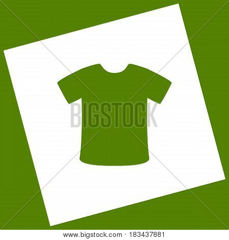 T-shirt sign. Vector. White icon obtained as a result of subtraction rotated square and path. Avocado background.