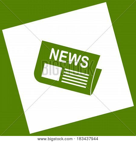 Newspaper sign. Vector. White icon obtained as a result of subtraction rotated square and path. Avocado background.