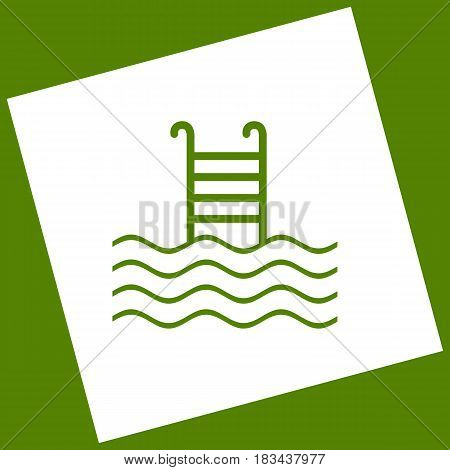 Swimming Pool sign. Vector. White icon obtained as a result of subtraction rotated square and path. Avocado background.