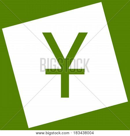 Chinese Yuan sign. Vector. White icon obtained as a result of subtraction rotated square and path. Avocado background.