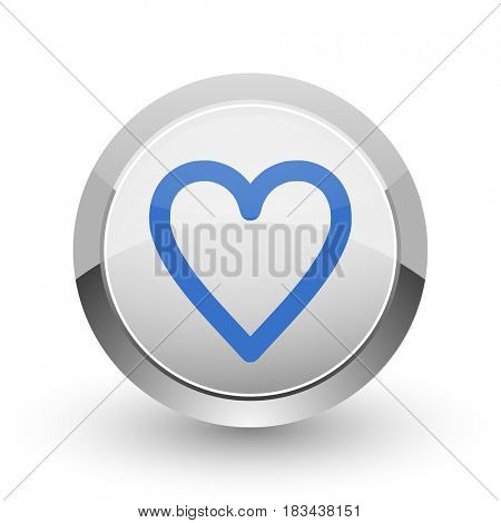 Heart chrome border web and smartphone apps design round glossy icon.
