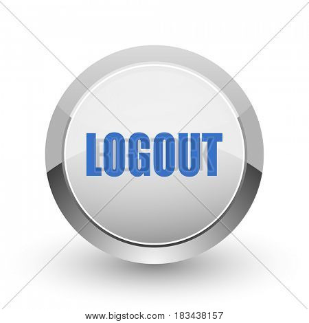 Logout chrome border web and smartphone apps design round glossy icon.