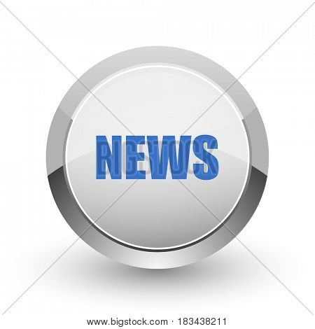 News chrome border web and smartphone apps design round glossy icon.