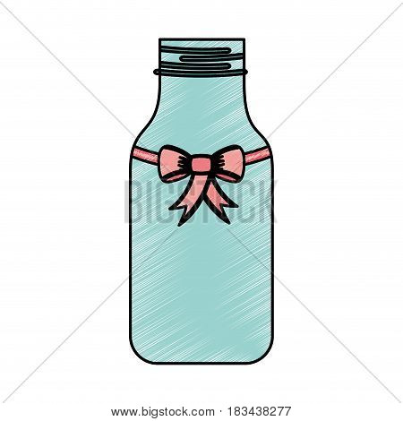 cristal bottle with bowtie isolated icon vector illustration design