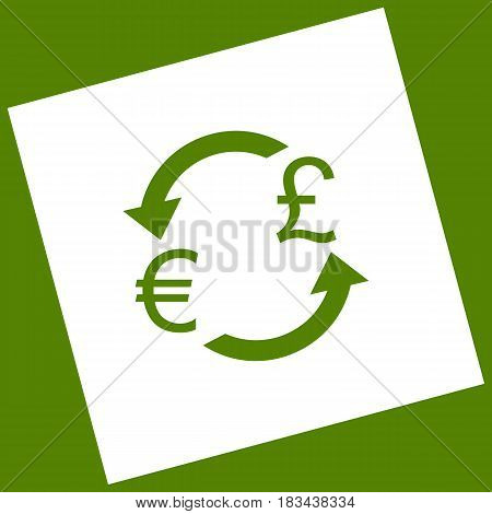 Currency exchange sign. Euro and UK Pound. Vector. White icon obtained as a result of subtraction rotated square and path. Avocado background.