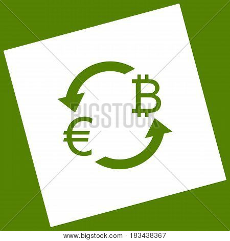 Currency exchange sign. Euro and Bitcoin. Vector. White icon obtained as a result of subtraction rotated square and path. Avocado background.