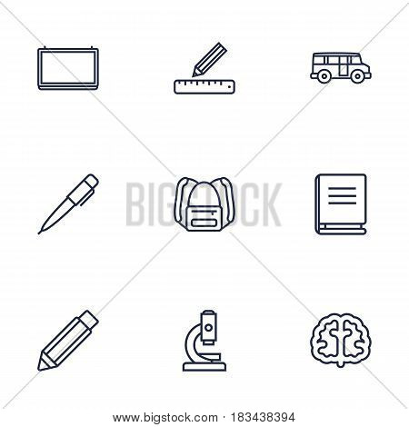Set Of 9 Science Outline Icons Set.Collection Of Brain, Microscope, School Board And Other Elements.