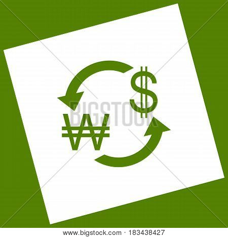 Currency exchange sign. South Korea Won and US Dollar. Vector. White icon obtained as a result of subtraction rotated square and path. Avocado background.