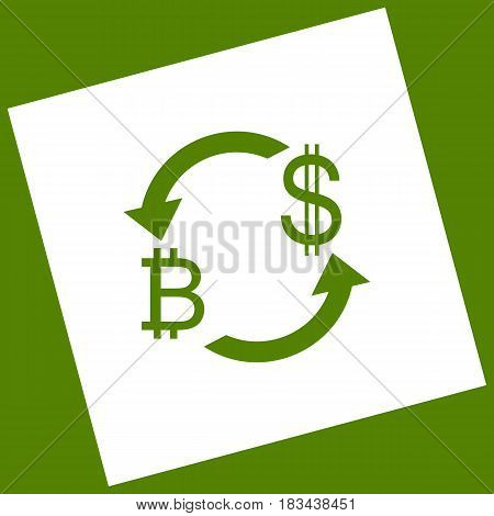 Currency exchange sign. Bitcoin and US Dollar. Vector. White icon obtained as a result of subtraction rotated square and path. Avocado background.