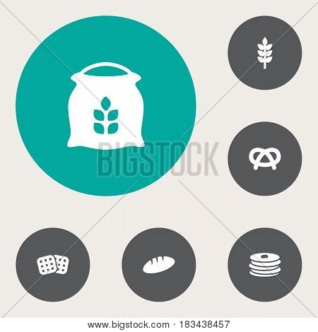 Set Of 6  Icons Set.Collection Of Wafer, Sack, Grain And Other Elements.