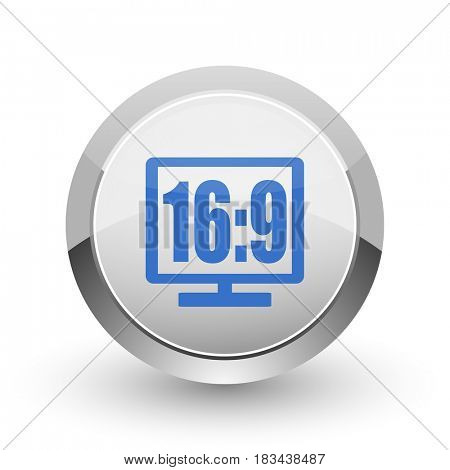 16 9 display chrome border web and smartphone apps design round glossy icon.