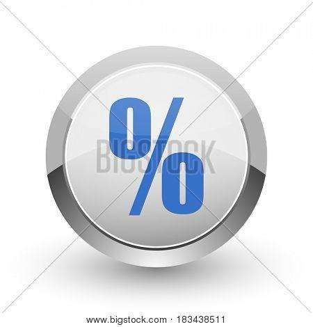Percent chrome border web and smartphone apps design round glossy icon.