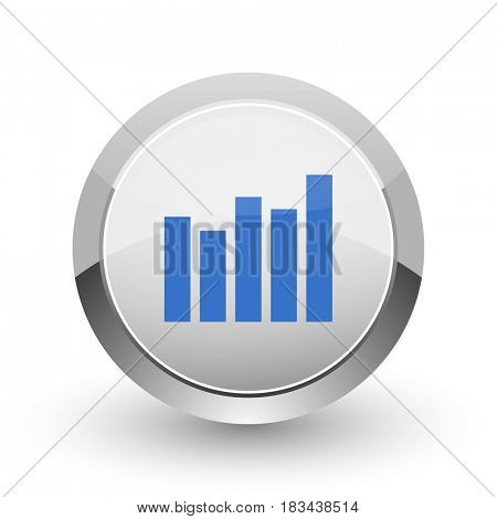 Graph chrome border web and smartphone apps design round glossy icon.