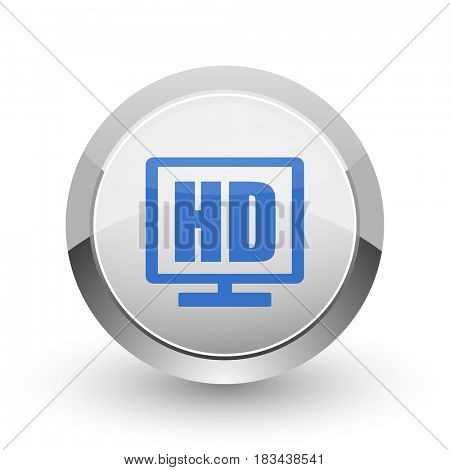 Hd display chrome border web and smartphone apps design round glossy icon.