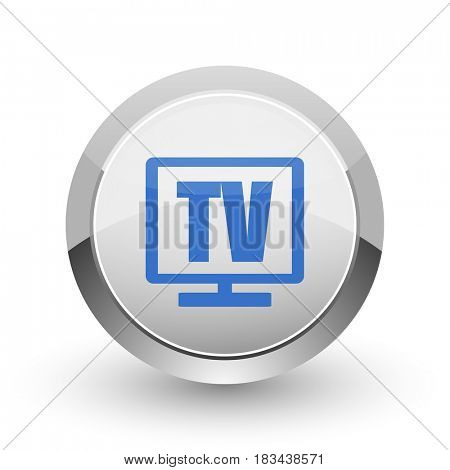 Tv chrome border web and smartphone apps design round glossy icon.
