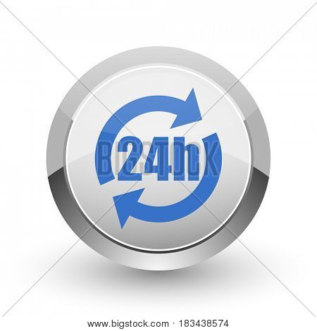 24h chrome border web and smartphone apps design round glossy icon.