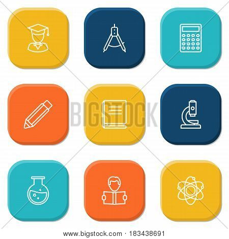 Set Of 9 Education Outline Icons Set.Collection Of Atom, Test Tube, Learning And Other Elements.