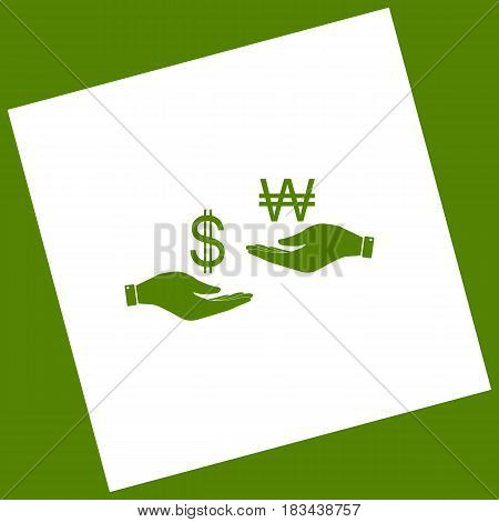 Currency exchange from hand to hand. Dollar and South Korea Won. Vector. White icon obtained as a result of subtraction rotated square and path. Avocado background.