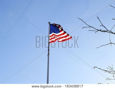 American Flag Flying And Billowing In The Wind