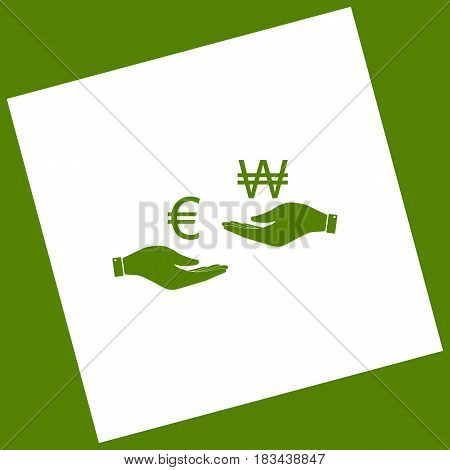 Currency exchange from hand to hand. Euro and Won. Vector. White icon obtained as a result of subtraction rotated square and path. Avocado background.