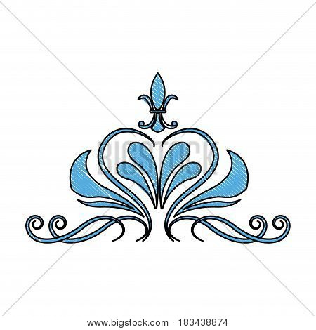 blue floral swirl ornate vignette image vector illustration