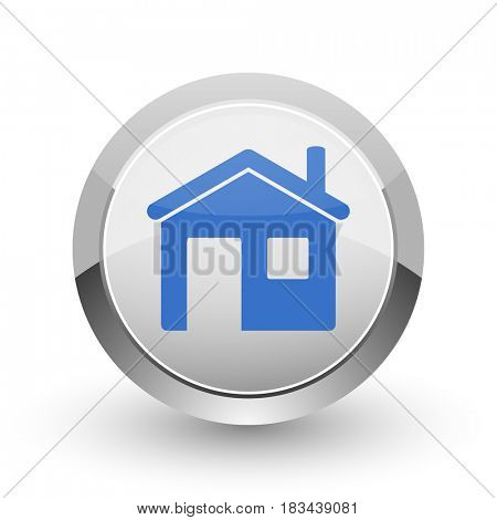 House chrome border web and smartphone apps design round glossy icon.