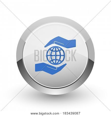 Hand protect the earth chrome border web and smartphone apps design round glossy icon.