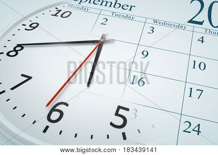 An image of a composite of a clock and a calendar