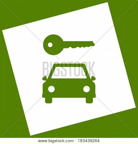 Car key simplistic sign. Vector. White icon obtained as a result of subtraction rotated square and path. Avocado background.