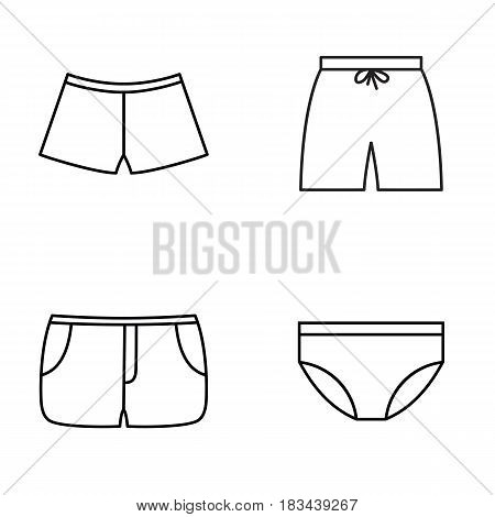 mens and bouys swimming pants outline icons set, flat design for logo web and mobile