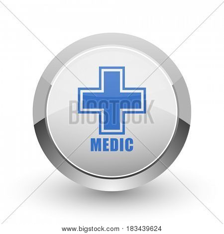 Medic chrome border web and smartphone apps design round glossy icon.