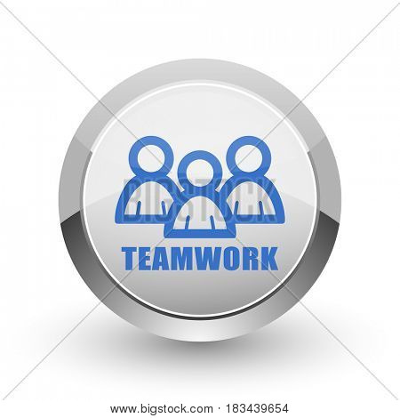 Teamwork chrome border web and smartphone apps design round glossy icon.