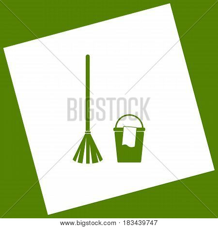 Broom and bucket sign. Vector. White icon obtained as a result of subtraction rotated square and path. Avocado background.