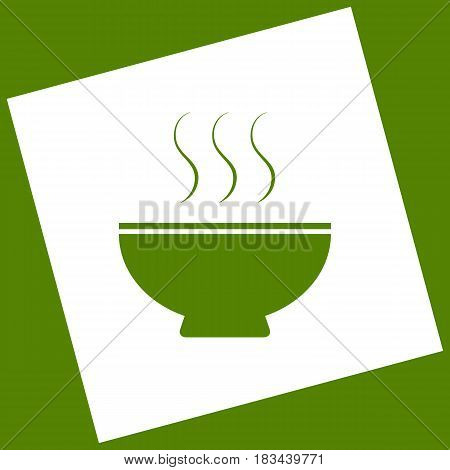 Soup sign. Vector. White icon obtained as a result of subtraction rotated square and path. Avocado background.