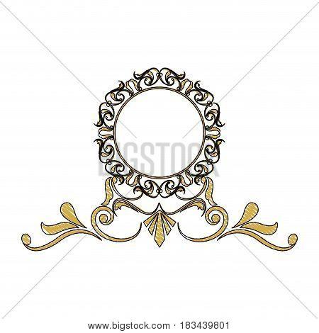 vintage round swirl flourish decoration frame royal image vector illustration