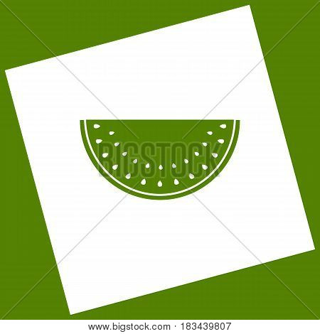 Watermelon sign. Vector. White icon obtained as a result of subtraction rotated square and path. Avocado background.