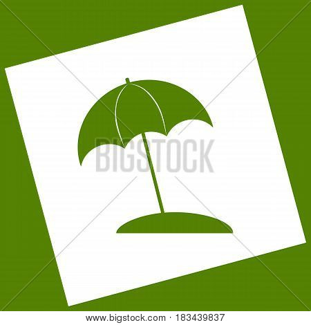 Umbrella and sun lounger sign. Vector. White icon obtained as a result of subtraction rotated square and path. Avocado background.