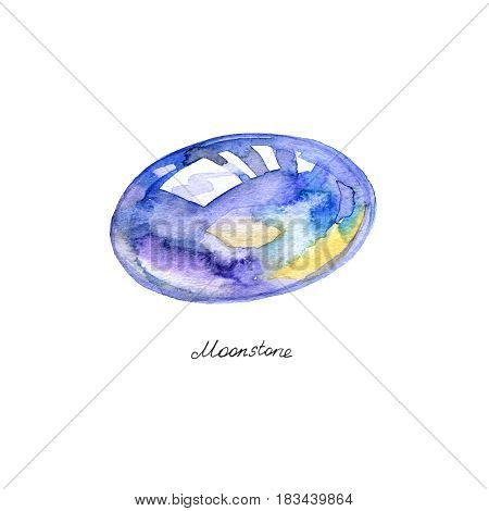 Watercolor mineral Moonstone crystal on white background