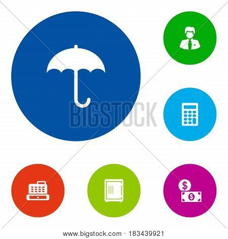 Set Of 6 Finance Icons Set.Collection Of Strongbox, Umbrella, Worker And Other Elements.